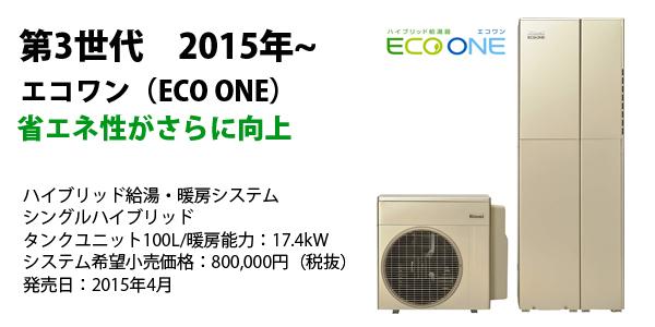 省エネ性がさらに向上 ハイブリッド給湯・暖房システム シングルハイブリッド タンクユニット100L/暖房能力:17.4kW システム希望小売価格:800,000円(税抜) 発売日:2015年4月