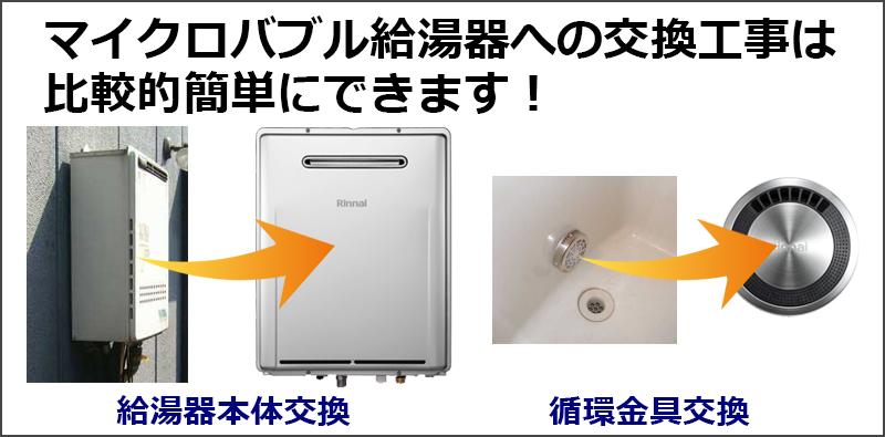 マイクロバブル給湯器への交換工事は比較的簡単にできます!